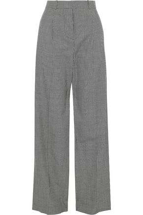VICTORIA BECKHAM Pleated herringbone wool wide-leg pants