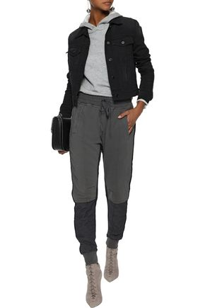 HAIDER ACKERMANN Twill-paneled French cotton-terry track pants