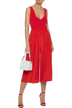VICTORIA BECKHAM Cropped pleated silk-crepe wide-leg pants