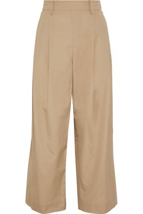 VINCE. Cropped cotton-poplin wide-leg pants