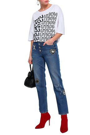 EACH X OTHER Appliquéd mid-rise bootcut jeans