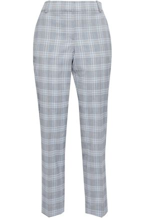 THEORY Cropped checked wool-blend tapered pants
