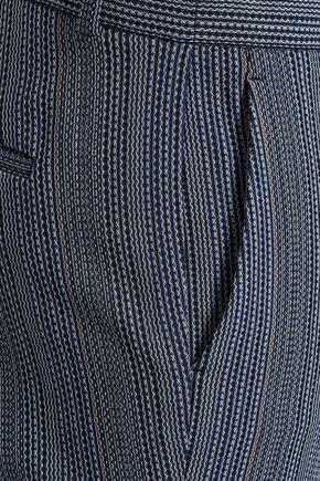 THEORY Wool-blend jacquard bootcut pants