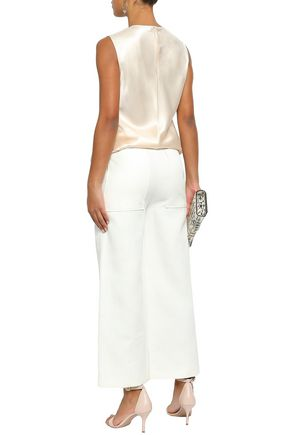JOSEPH Button-detailed cropped twill wide-leg pants