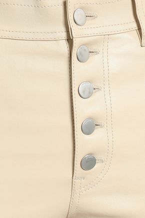 JOSEPH Button-detailed cropped leather slim-leg pants