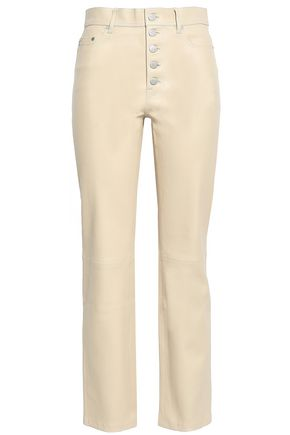 JOSEPH Button-detailed cropped leather slim-leg pants