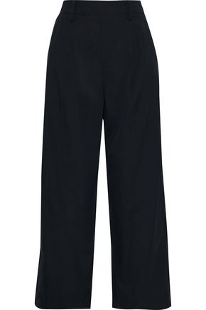 VINCE. Cropped cotton-poplin wide-leg pants