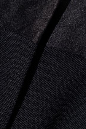 VICTORIA BECKHAM Satin-trimmed grain de poudre wool slim-leg pants