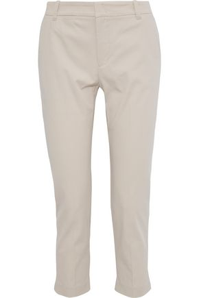 VINCE. Cropped cotton-blend twill straight-leg pants