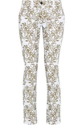 ETRO Embroidered mid-rise slim-leg jeans