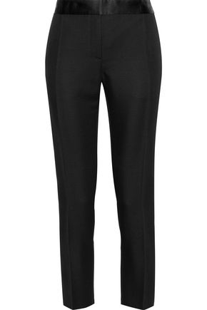 VICTORIA BECKHAM Cropped satin-trimmed woven tapered pants