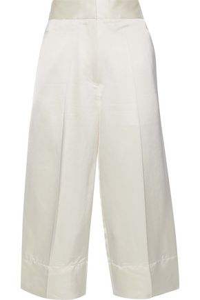 VICTORIA BECKHAM Cropped silk-blend satin wide-leg pants