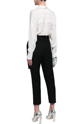 IRO Lana cropped belted wool-twill tapered pants