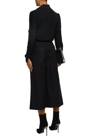 ALEXANDER WANG Zip-detailed pleated cotton-poplin culottes