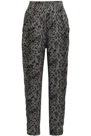 IRO Leopard-print fil coupé stretch-knit tapered pants