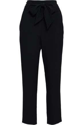 IRO Belted satin-crepe straight-leg pants