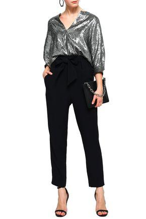 IRO Belted satin-crepe straight-leg pants