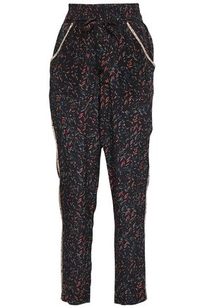 IRO Joey printed silk crepe de chine tapered pants