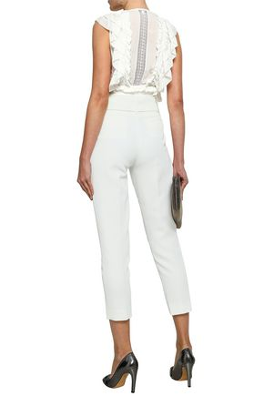 IRO Lamezeta cropped belted cady tapered pants