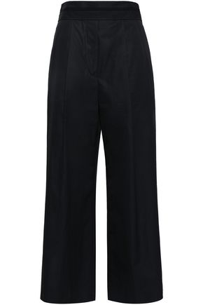 ALEXANDER WANG Grosgrain-trimmed cotton-poplin wide-leg pants