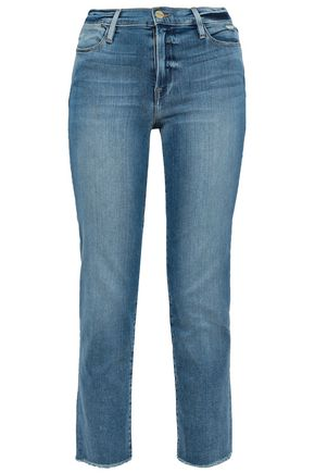FRAME Frayed faded high-rise straight-leg jeans