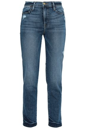 FRAME Distressed faded high-rise straight-leg jeans