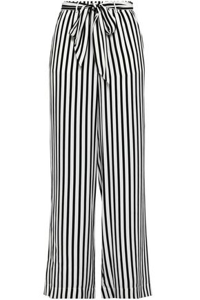 FRAME Striped silk-satin crepe wide-leg pants