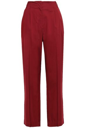 DIANE VON FURSTENBERG Pleated stretch-cotton twill wide-leg pants