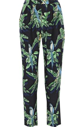 STELLA McCARTNEY Christine pleated printed silk tapered pants