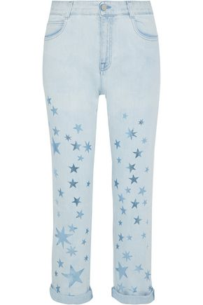STELLA McCARTNEY Metallic printed mid-rise straight-leg jeans