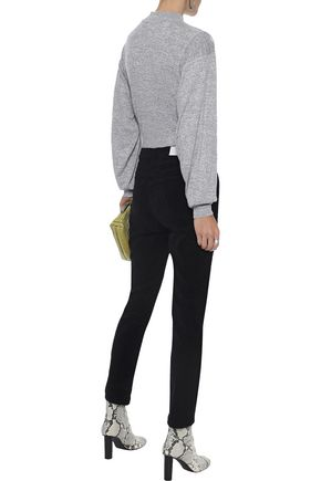 RE/DONE Cropped high-rise stretch-velvet skinny pants