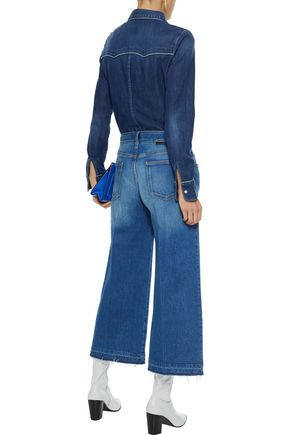 STELLA McCARTNEY Cropped frayed high-rise wide-leg jeans