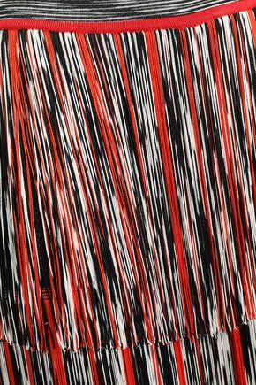 MISSONI Fringed metallic crochet-knit culottes