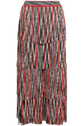 MISSONI Fringed metallic crochet-knit culottes