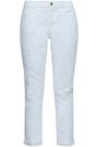FRAME Cropped distressed mid-rise slim-leg jeans