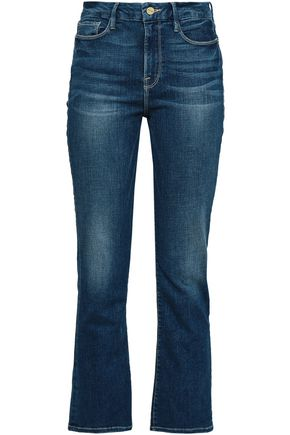 FRAME Faded high-rise bootcut jeans
