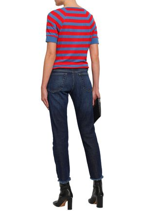 FRAME Cropped faded high-rise slim-leg jeans