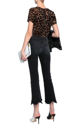 FRAME Frayed high-rise bootcut jeans