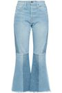 FRAME Frayed faded high-rise flared jeans
