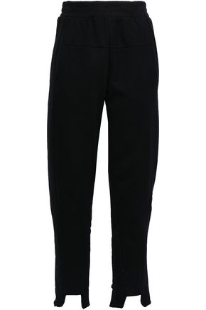 FRAME Le Mix frayed French cotton-terry track pants