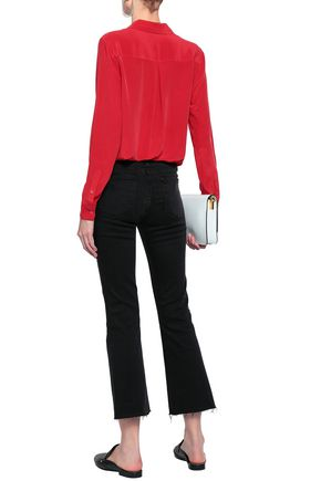 FRAME Frayed high-rise kick-flare jeans