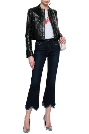 FRAME Cropped frayed high-rise bootcut jeans