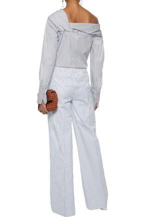 VICTORIA, VICTORIA BECKHAM Striped cotton-poplin wide-leg pants