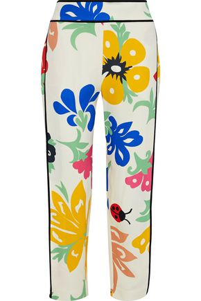 VICTORIA, VICTORIA BECKHAM Cropped printed cady tapered pants