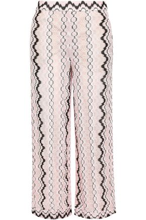 MISSONI Cropped crochet-knit wide-leg pants