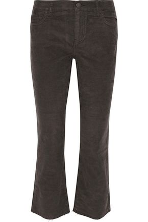 CURRENT/ELLIOTT Cropped cotton-blend corduroy straight-leg pants