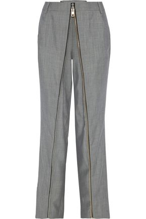 ALEXANDER WANG Zip-detailed wool and mohair-blend straight-leg pants
