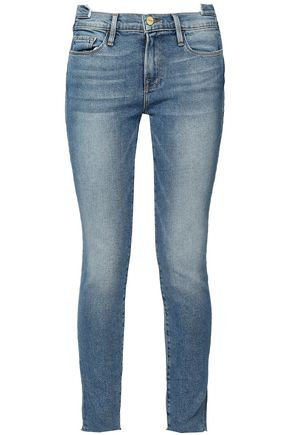 FRAME Cropped faded mid-rise skinny jeans