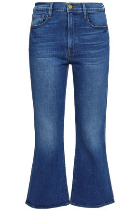 FRAME Faded high-rise kick-flare jeans