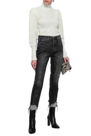FRAME Cropped distressed high-rise skinny jeans